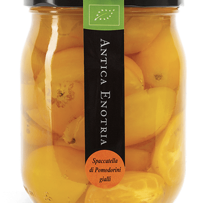 halbierte gelbe Kirschtomaten in Salzlake 580ml